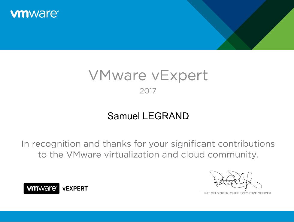 VMware vExpert 2018 award